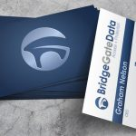 Mockup of the front and back of a business card designed for a technical startup